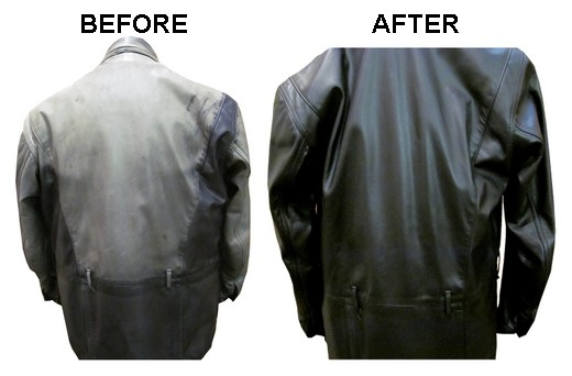 Very Faded Black Leather Jacket Re-Dyed and Restored